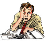 image of frustrated man with books