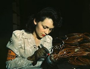 Woman aircraft worker, Vega Aircraft Corporation, Burbank, Calif.  1942.  Courtesy of Wikimedia.