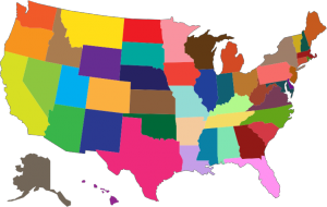 Multi color map of United States