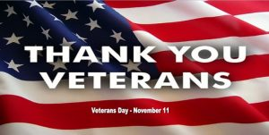 Image of American flag with words Thank You Veterans