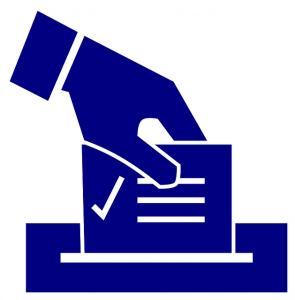 image of hand placing completed ballot into box