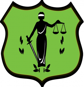 digital logo featuring three point shield and lady justice