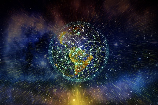 Earth in space, with lines over it symbolizing technology network
