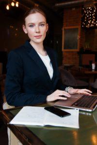 photo of law clerk using laptop