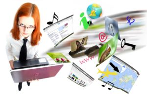 image of woman instructor with laptop and several multimedia effects