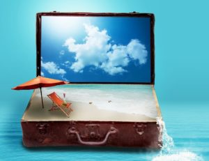 image of suitcase with beach & sky inside